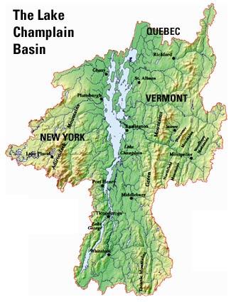 Previous Lake Champlain Research Paul W Simonin - Lake-champlain-on-us-map